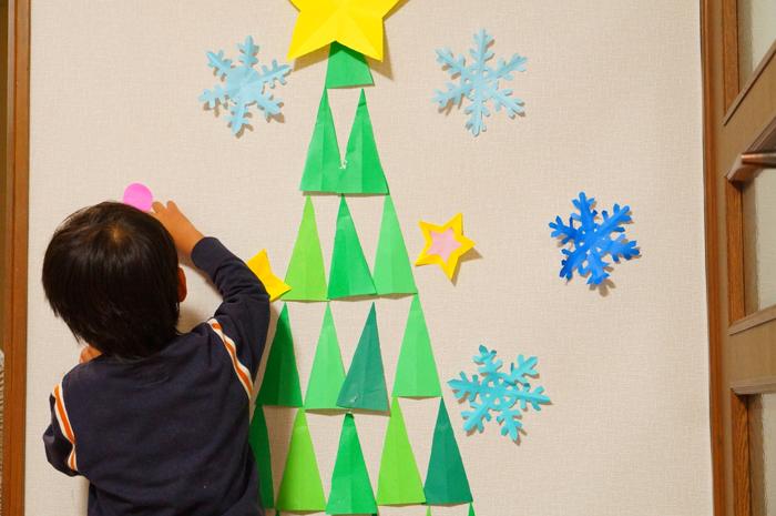 折り紙 壁 クリスマスツリー デコ